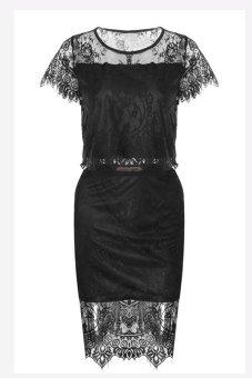 Toprank Women's Lace Skirt Lace Dress Ladies Tops + Skirt 2 Pcs Set Party Evening Dress Women Sexy Mini Dress ( Black ) - Intl