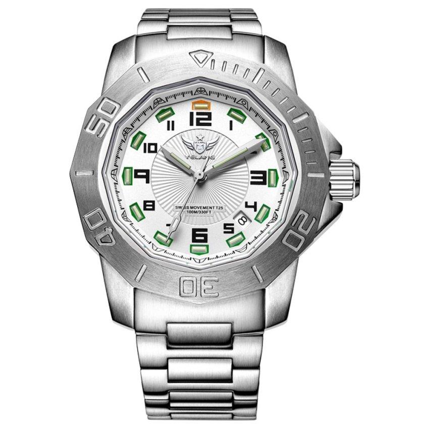 harga YELANG V1005.1.1 100M Waterproof Tritium Gas Green Luminous Swiss Quartz Movement Sapphire Mirror Mens Watch (Intl) Lazada.co.id
