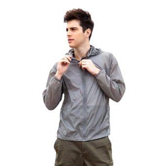 EOZY Fashion Men's Sun-protective Clothing Korean Style Male Windproof Waterproof Jacket Ultra-thin Ultra-light Summer Outdoor Sports Coats (Grey) - INTL