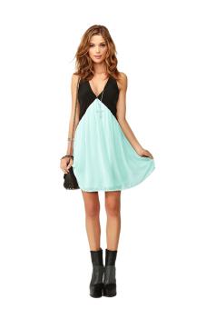 ASTAR Deep V-neck Sleeveless Dress (Mint Green) (Intl)