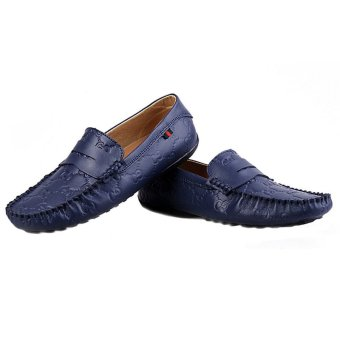 Men Casual Genuine Leather Driving Soft Sail Boat Print Shoes Blue (Intl)