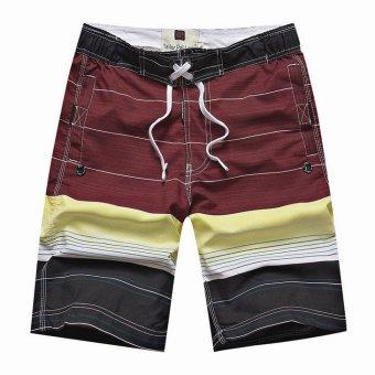harga Men's Stripe Quick-dry Surf Board Beach Shorts (Wine Red) Lazada.co.id