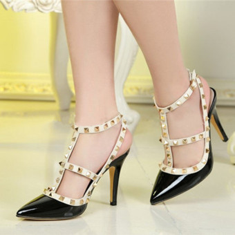 Fashion Women Stiletto Pointed Toe Studded Rivet High Heels Buckle Sandals Shoes - Intl