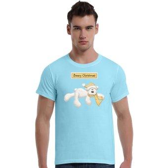 Beary Christmas Polar Bear Cotton Soft Men Short T-Shirt (Powder Blue) - Intl