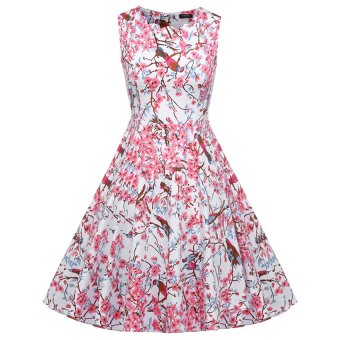 Cyber ACEVOG Women Vintage Style Print Sundress Swing Hem Scalloped Collar Party Casual Pleated Dress ( Rose Red ) (Intl)