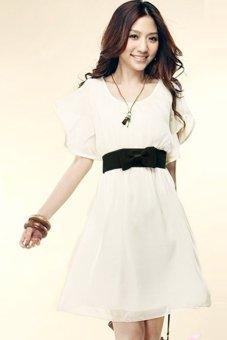 Toprank Women's Lady Short Sleeve Crew Neck Chiffon Dress Roll Wave Spins ( White ) - Intl