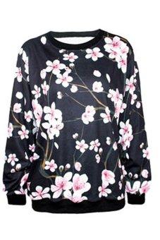 Azone Women Men T-Shirts Space Galaxy Sweater Jumper Sweater Printing T Shirt Top Pullover (Black Flower) - Intl