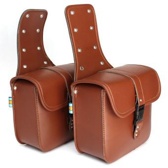 Motorcycle Saddlebags Saddle Bags Brown (Intl)