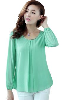 Toprank Cheap East Knitting Women Chiffon Long-Sleeve Shirts Fashion Womans Blouses Top Sv001416 ( Green ) (Intl)