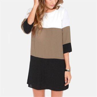 Hotyv European Fashion Women 3/4 Sleeves 3 Colors Patchwork Mini Casual Dress HDS060 Black (Intl)