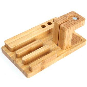 Bamboo Multi-device Charging Stand Base Docking Station Bracket Pen Holder For Apple Watch iPhone 6 Plus 5S 5C 5 4S iPad Mini 2 3 Burlywood