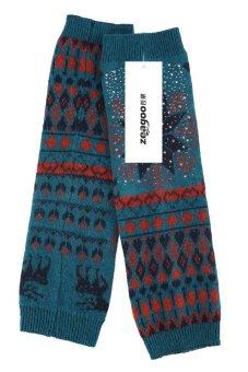 Cyber European Style Women Lady Knee High Knit Crochet Leg Warmer Autumn Winter ( Blue )