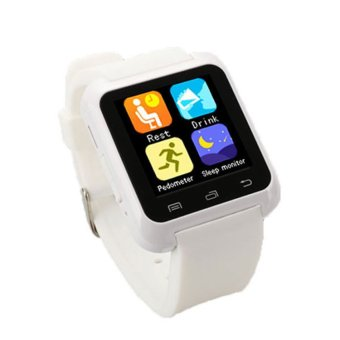 Toprank Square Bluetooth Smart Phone Watch ( White )