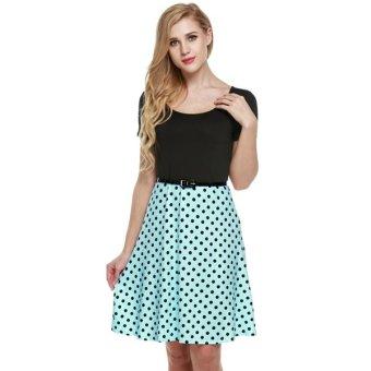 Cyber Zeagoo Women Short Sleeve O-Neck Polka Dots A-Line Dress With Belt - Intl (Intl)