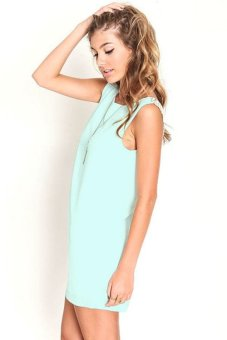 Yidabo Women Sexy Sleeveless Sundress Lace Patchwork Backless Loose Casual Club Dress (Green) - Intl
