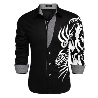 Cyber COOFANDY Men Long Sleeve Turn Down Neck Print Loose Tops Casual Loose Cotton Button Down Shirts(Black) (Intl)