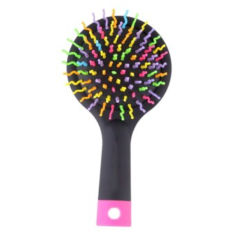 Cocotina Rainbow Volume Anti-static Curl Straight Hair Massage Comb Brush With A Back Mirror (Black)- INTL