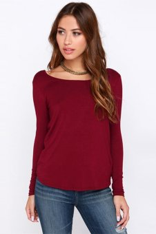 New Fashion Women T-shirt Draped Wrap Pleated Cross Deep V Back Crew Neck Long Sleeve Sexy Blouse(Red) - Intl