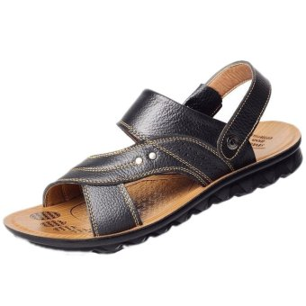 Men's Cowhide Leather Sandals Summer Shoes Beach Slippers Black - INTL