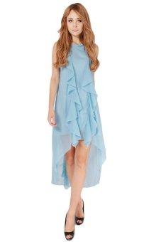 LALANG New Wave Irregular Hem Dress Blue