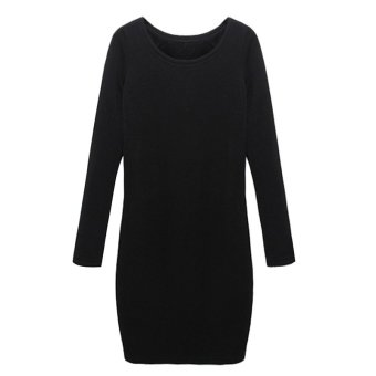 Cyber Women Casual O-Neck Long Sleeve Solid Slim Bodycon Thickening Dress ( Black ) (Intl)