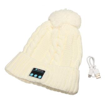 Soft Women Warm Hat Wireless Bluetooth Smart Cap Headset Headphone Speaker Mic Beige (Intl)