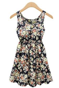 Womens New Floral Printed Chiffon Slim Braces Dresses (Black) (Intl)