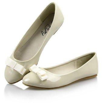 TongLuRen NSPX0007-C Ballet Flats Fashion Women Leather Flat Shoes Tip (White) - Intl