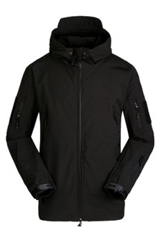 Toprank Outdoor Men Waterproof Windproof Climbing Clothing Soft Shell Tactical Sports Jacket ( Black )