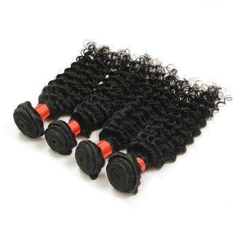 "22"" 4 Bundles Lot 7A Indian Deep Curly Virgin Hair Unprocessed Virgin Indian Hair Extension Human Hair Natural Black"
