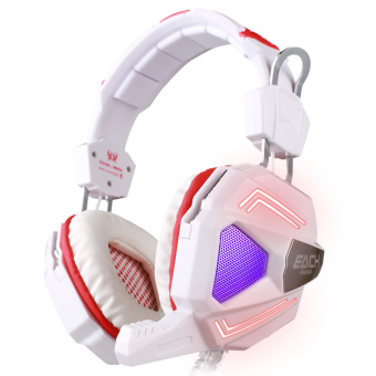 High Quality 7.1 Surround Sound Game Headphone Computer Gaming Headset Headband Vibration with Mic Stereo Bass Colorful Breathing LED Light (White) - Intl