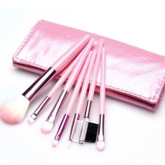 7 pcs Makeup Brushes Set Foundation Eyeshadow Eyeliner Blusher With Leather Case (Pink) (Intl)