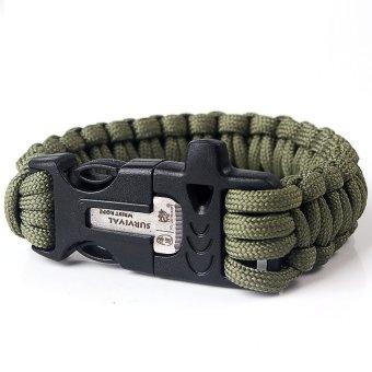 S & F 9 Survival Paracord Bracelet w/ Flint Fire Starter Buckle Scraper Whistle Kits - Intl