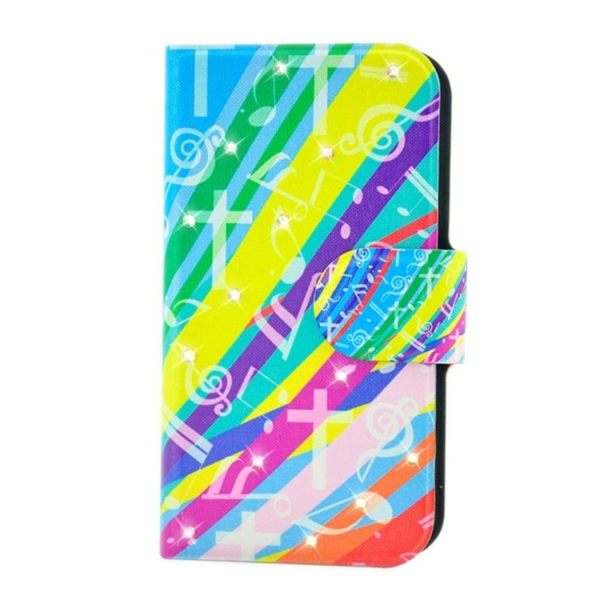 Rhinestone Colorful Music Notation Design Card Slot Magnetic PU Leather Flip Case Cover Compatible For Nokia lumia 510