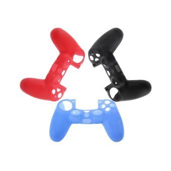 CHEER Silicone Rubber Case Skin Cover For Sony PS4 Controller Grip Handle Console Black - Intl