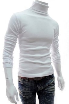 Turtleneck Cotton Long Sleeve Pullover Sweaters (White)