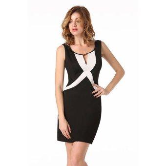 Cyber Finejo Stylish Ladies Women Sexy Keyhole Sleeveless Patchwork Slim Casual Mini Dress ( Black )