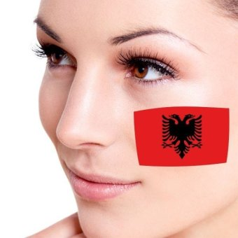 Flag of Albania facial tattoo Temporary Tattoo Body Art Flash Tattoo Stickers Water transfer Removable Tatoo Sticker Colorful (Intl)