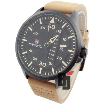 Jam Tangan Pria Naviforce Nf1212 Dualtime Tali Kulit Hitam Source Naviforce .