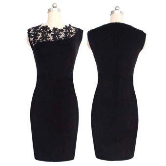 Charming Women Black Lace Sleeveless Bodycon Evening Party Short Skirt Dress (Intl)
