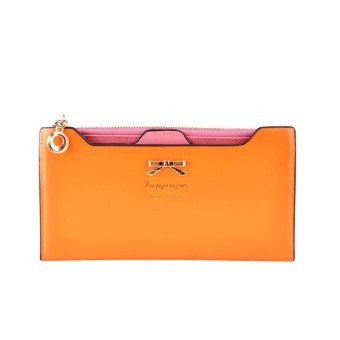 Fashion Wallet Women Lady Long Wallets Purse Female Candy Color Bow Knot PU Leather Carteira Feminina for Coin Card Clutch Bag(Orange) - INTL