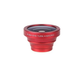 180 Degree Fisheye Macro Lens Magnetic Mount for iPhone 5S 5 Galaxy S4 S3 Note 3 HTC 2 in 1 (Red) (Intl)