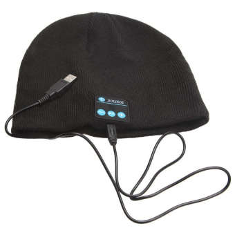 Universal Bluetooth Knit Beanie with Hands-free Calls - Hitam