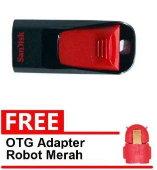 SanDisk Flash Disk Cruzer Edge 8 GB + Gratis OTG Adapter Android Robot Merah
