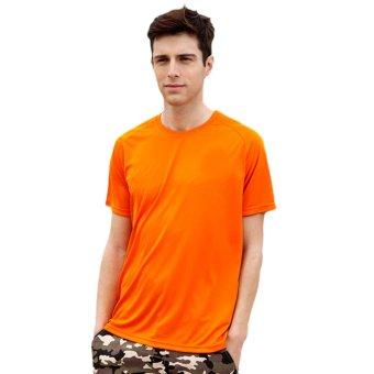 EOZY Fashion Men's Casual Short Sleeve Crew Neck T-Shirts Korean Style Male Outdoor Sports Skinny Slim Soft T-Shirts Clothing Tops (Orange) - INTL