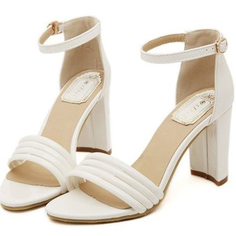 Summer Women's Elegant belts heeled sandals Strappy Open Toe HeelsWhite - INTL