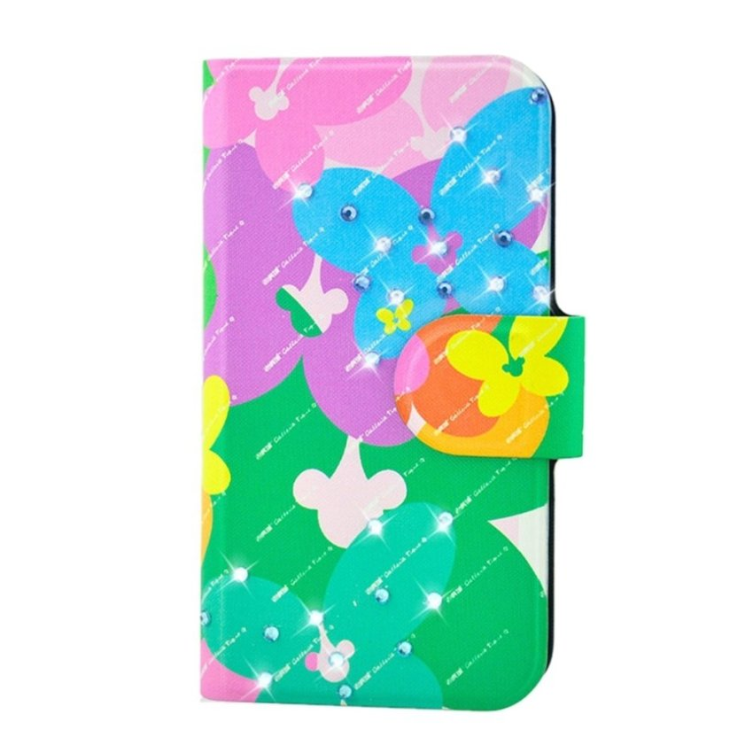 Rhinestone Colorful Flower Butterfly Design Card Slot Magnetic PU Leather Flip Case Cover Compatible For Samsung ATIV S i8750