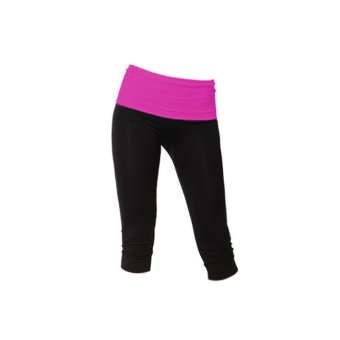 ELENXS Summer Womens Fitness Waistband Exercise Yoga Legging Pants Athletic Sports Tight Casual Comfortable Rose Red & S - Intl