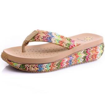 Hot Seal Women's Bohemia Beach Wedge Slides Fashion Casual Shoes 9507(Beige) - INTL