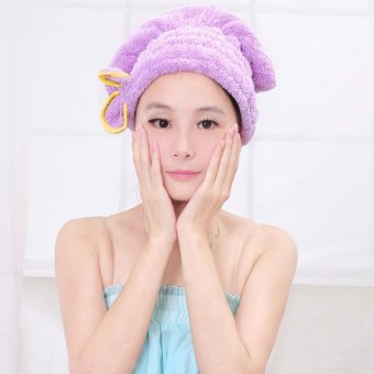 Microfiber Hair Turban Quickly Dry Hair Hat Purple (Intl)